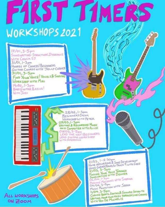 First Timers Fest 2021 (online edition) is almost upon us! Have you always wanted to play in a band but didn't know where to start? This is the place for you. A festival that is all about skill-sharing and supporting new faces to start making music @firsttimersfest.   Picture is of a poster with drawn illustrations of a guitar, bass guitar, keyboard and drums. Text reads: 17/01 3-5pm songwriting structure & dynamics with Chuck SJ @chuckintransit 31/01 1-3pm hoards of chords! Beginners Guitar chords with Jelly Cleaver @jellycleaver 31/01 3-5pm find your voice! Vocals and Singing workshop with MIRI @miriofficialuk 14/02 1-3pm bass guitar basics! With Jodi @mxjodiburn 28/02 1-3pm beginners drum workshop with Peter @peterhanho 07/03 1-3pm writing and recording music on a computer with Alice @alicemarymusic 07/03 3-5pm Lead the way! Lead guitar workshop for beginners with Amaroun *cancelled* @amarouninsta 21/03 1-2.30pm home recording and song development using GarageBand/N-Track 9 with Greg @greg.e.bread 21/03 3-5pm finding your voice through songwriting with Denver @denvercuss_ 04/04 1-3pm Making Melodies with Sabrina @sabrina_amade 04/04 3-5pm music promotion with Sarah @serenofthestars 11/04 3-5pm coding beats, synths & sounds. Intro to writing your own music through live coding with Van De Michelas @ajninborg Poster designed by @wolfe_ripley13    #GoodNightOutCampaign #ConsentCulture #EndingHarassment #Grassroots #Feminism #Women #London #Music #TimesUp #Venue #Consent #Training #Festival
